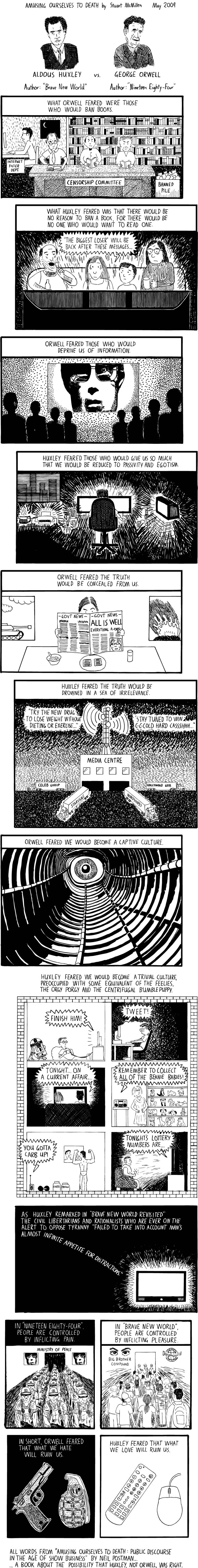 huxley vs orwell the webcomic biblioklept stuart mcmillen s webcomic adapts and updates postman s famous book length essay amusing ourselves to death