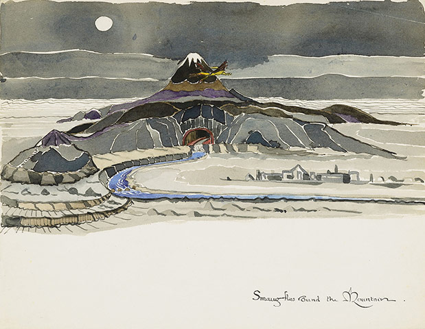 Image result for J.R.R. Tolkien Smaug Flies Round the Mountain