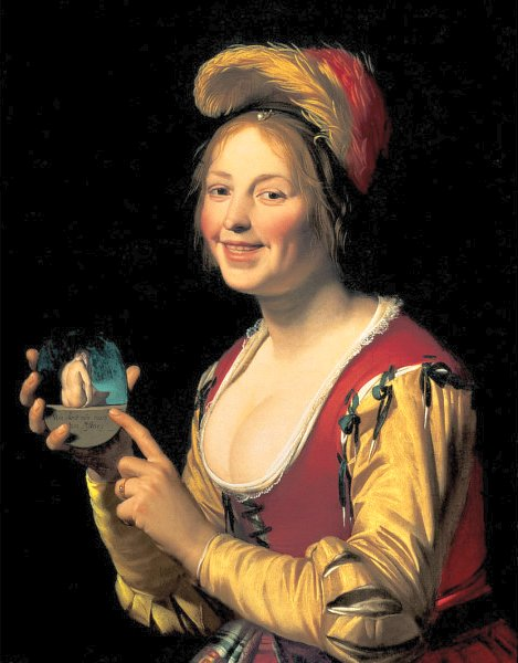 """Smiling Girl, a Courtesan, Holding an Obscene Image,"""" 1625, Gerard van Honthorst (1590–1656)"""