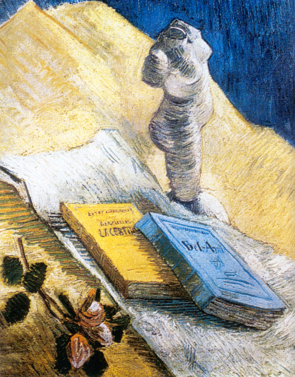 still-life-with-plaster-statuette-a-rose-and-two-novels-1887