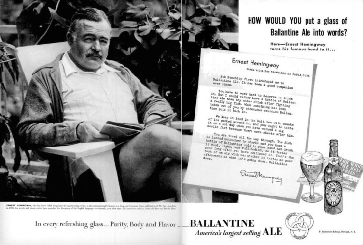 Ernest Hemingway - Advertisement From P. Ballantine & Sons, Newark (1951)