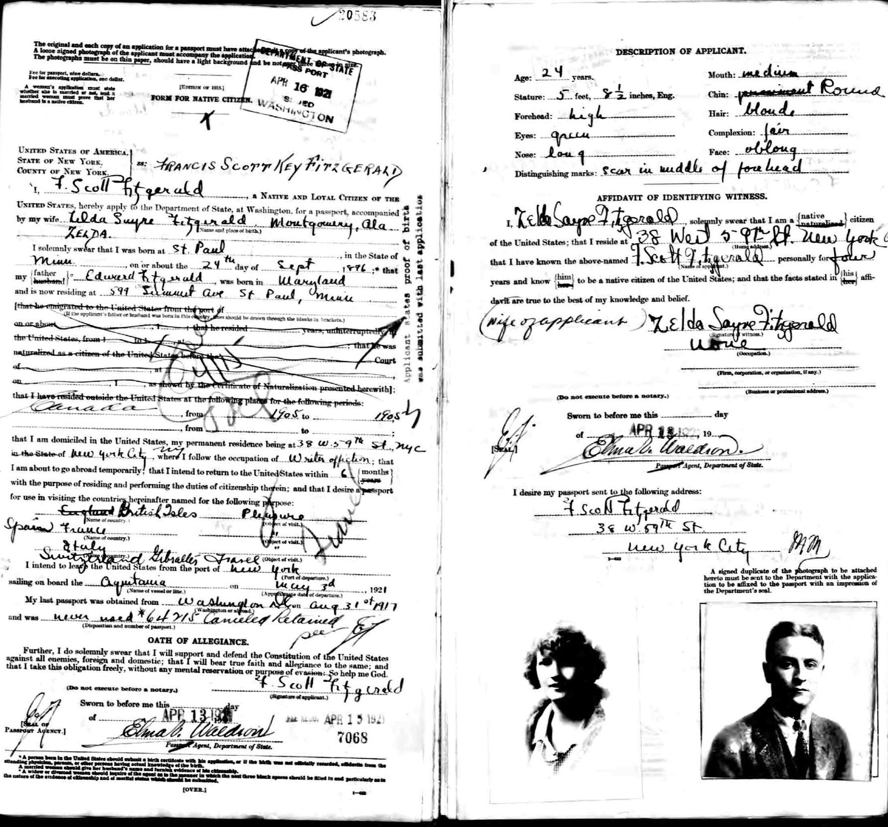 scott and zelda fitzgerald apply for a passport biblioklept f scott fitzgerald