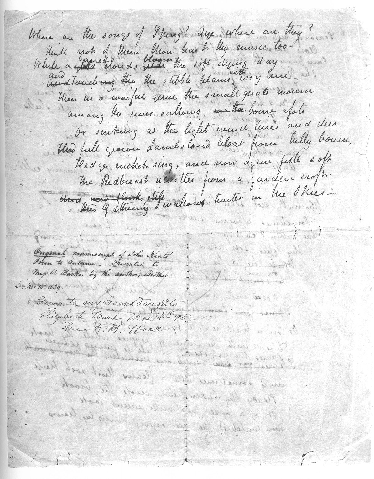 an analysis of the poem to autumn by john keats Poetry analysis worksheet: to autumn by john keats ii literary techniques 1 alliteration is the repetition of beginning consonant sounds in nearby words for example, in the first line.