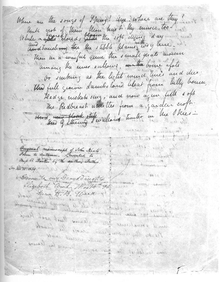 poem to autumn by john keats