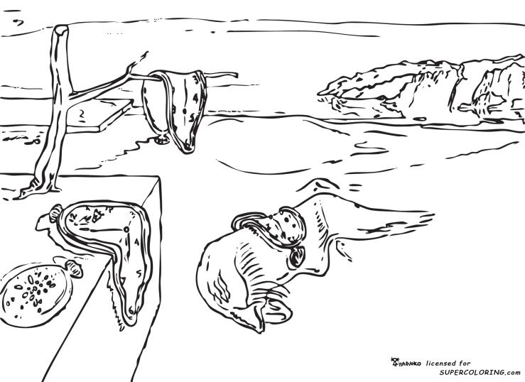 Memory-by-Salvador-Dali-coloring-page