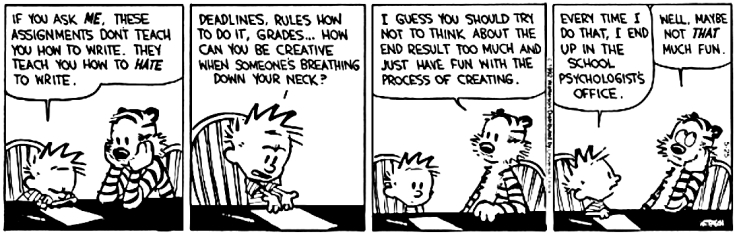 Image result for calvin and Hobbes about writing""