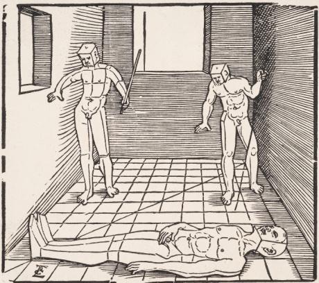 Drei Männliche Figuren in einem Raum -- Erhard Schön