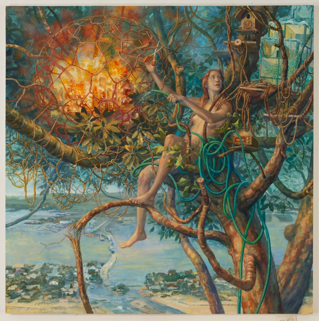 Girl in Tree with Exploding City_2013_68x68