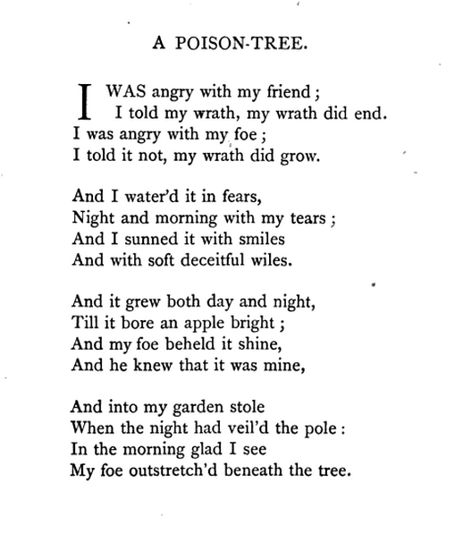 a review of william blakes story a poison tree William blake (an analysis of 3 poems)  in the angel blake tells a story that shows a loss of innocence is reflected by a loss of love  my pretty rose tree.