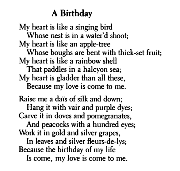 poem a birthday by christina rossetti Browse through christina georgina rossetti's poems and quotes 320 poems of christina georgina rossetti christina georgina rossetti [christina a birthday my.