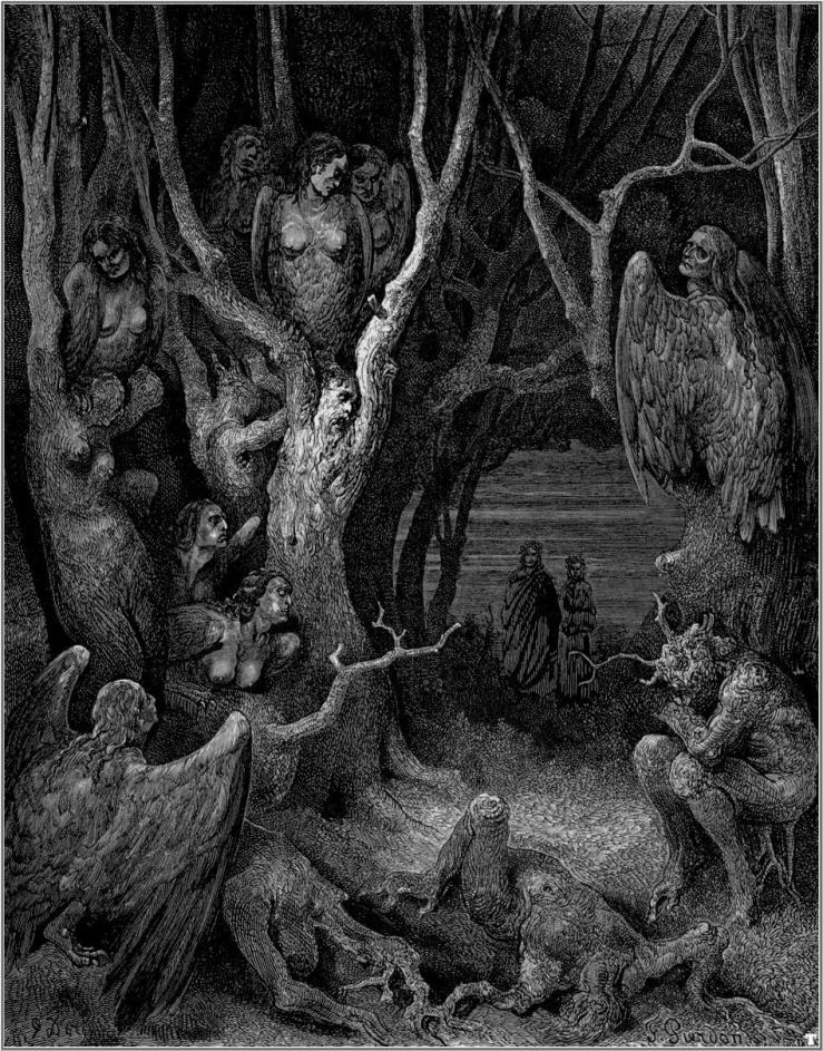 gustave_dore_dante_the_harpies_wood