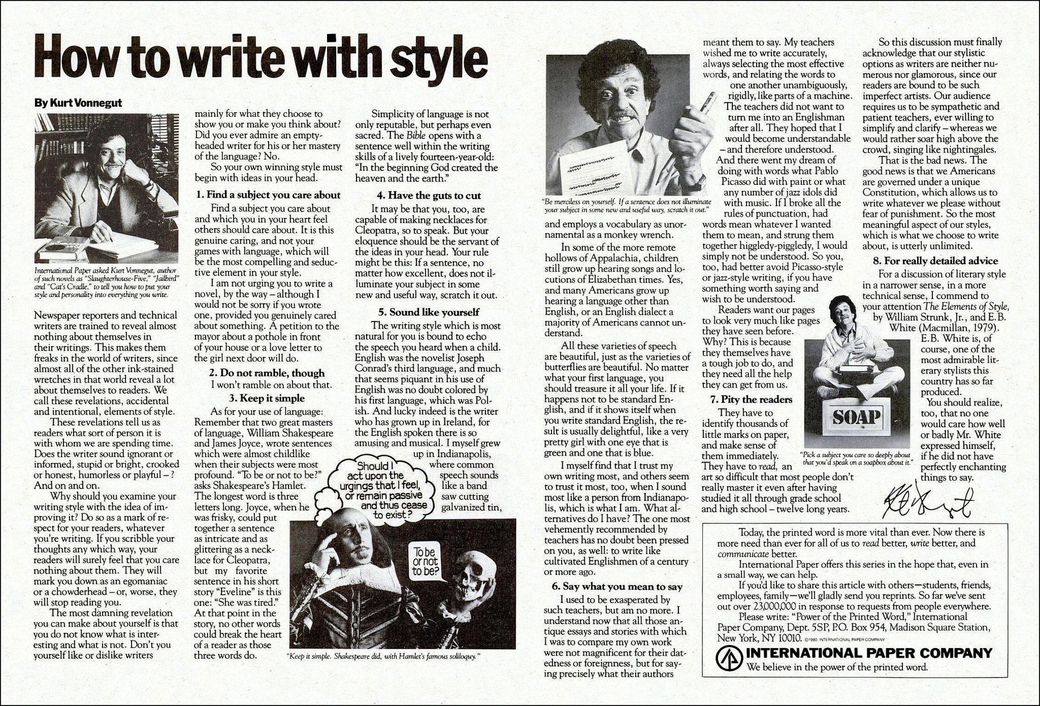 how to write style rdquo kurt vonnegut  kv