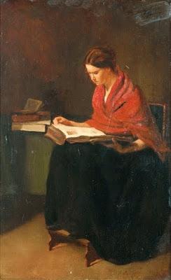 Bonvin,  François Femme au chale rouge lisant