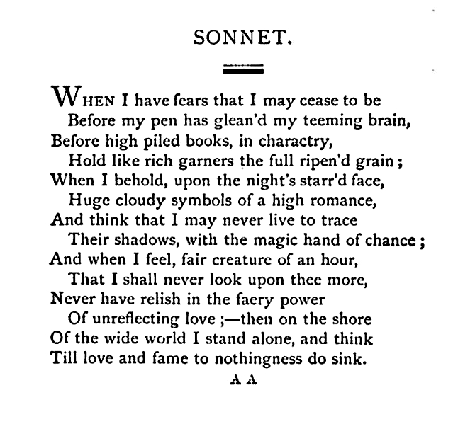john keats when i have fears that i may cease to be tpcastt