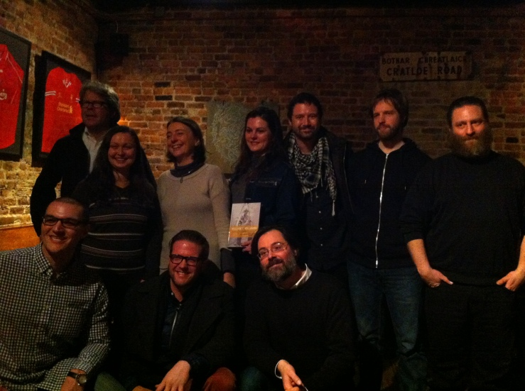 From the WTV: ACC Book Launch party: Bottom L-R: Bryan Santin, Miles Liebtag, Chris Coffman; Top: L-R: Jon Franzen, Mariya Gusev, Françoise Palleau-Papin, Heather Corcoran, Jordan Rothacker, Georg Bauer, Daniel Lukes