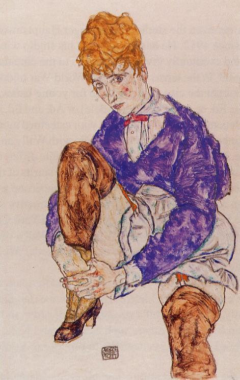 portrait-of-the-artist-s-wife-seated-holding-her-right-leg-1917