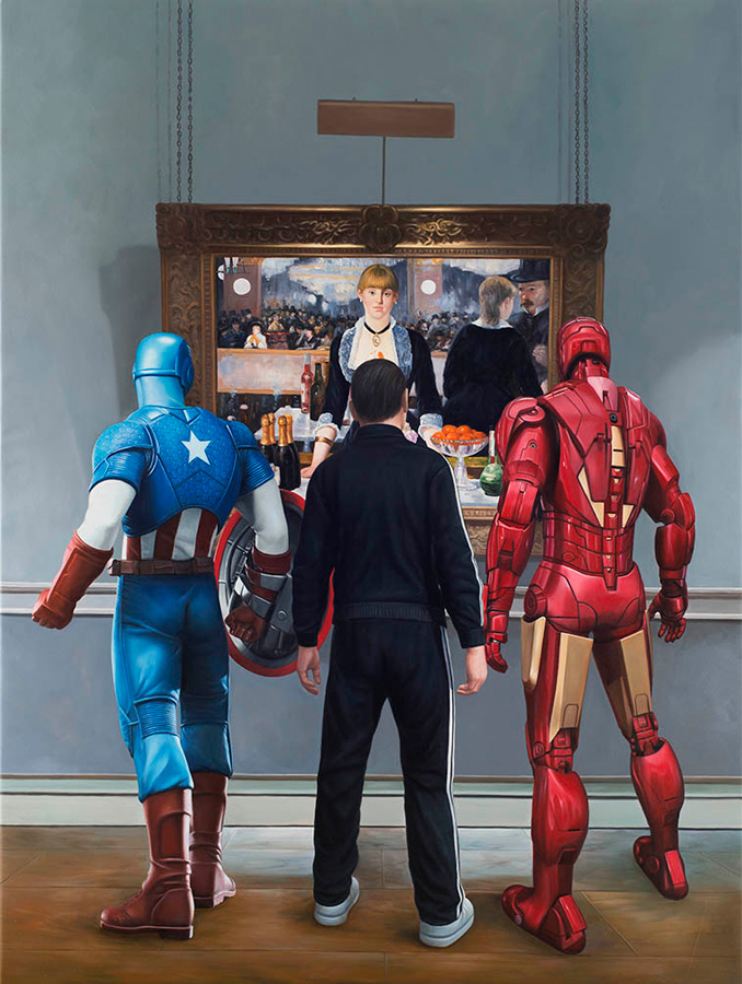 marc-dennis_ironman-captain-america-and-a-russian-mobster-walk-into-a-bar_2015_oil-on-linen_80x60inches