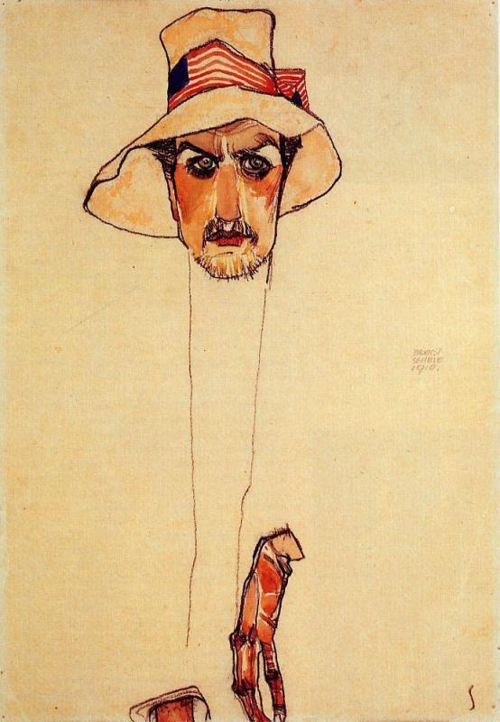 Egon_Schiele_-_Portrait_of_a_Man_with_a_Floppy_Hat_(Erwin_D