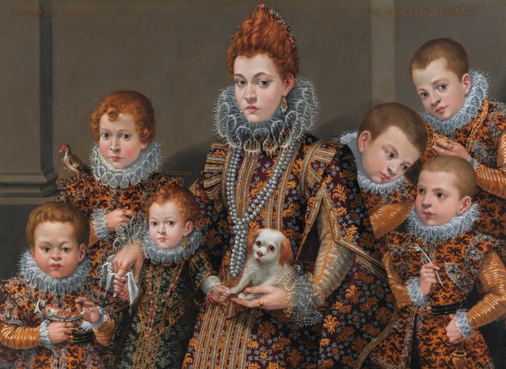 Bianca Degli Utili Maselli and six of her children, by Lavinia F