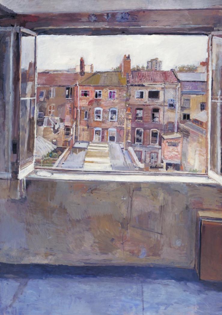 Open Window, Spitalfields 1976-81 by Anthony Eyton born 1923
