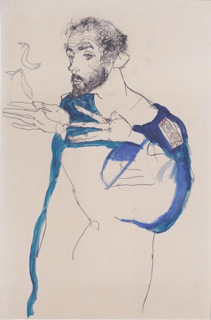 Egon_Schiele_-_Gustav_Klimt_im_blauen_Malerkittel_-_1913