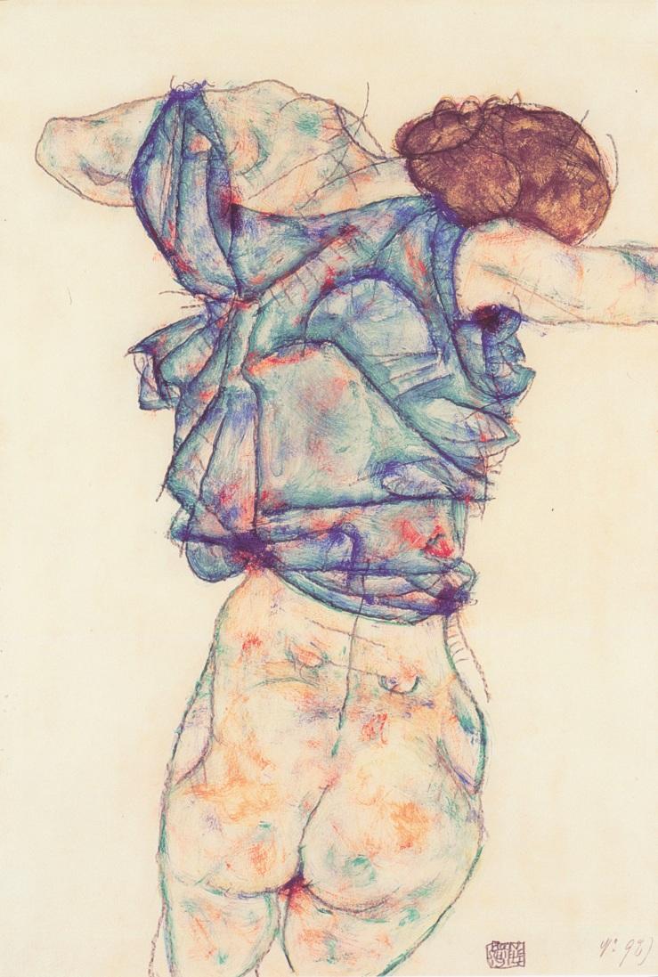 Egon_Schiele_-_Sich_entkleidende_Frau_-_1914