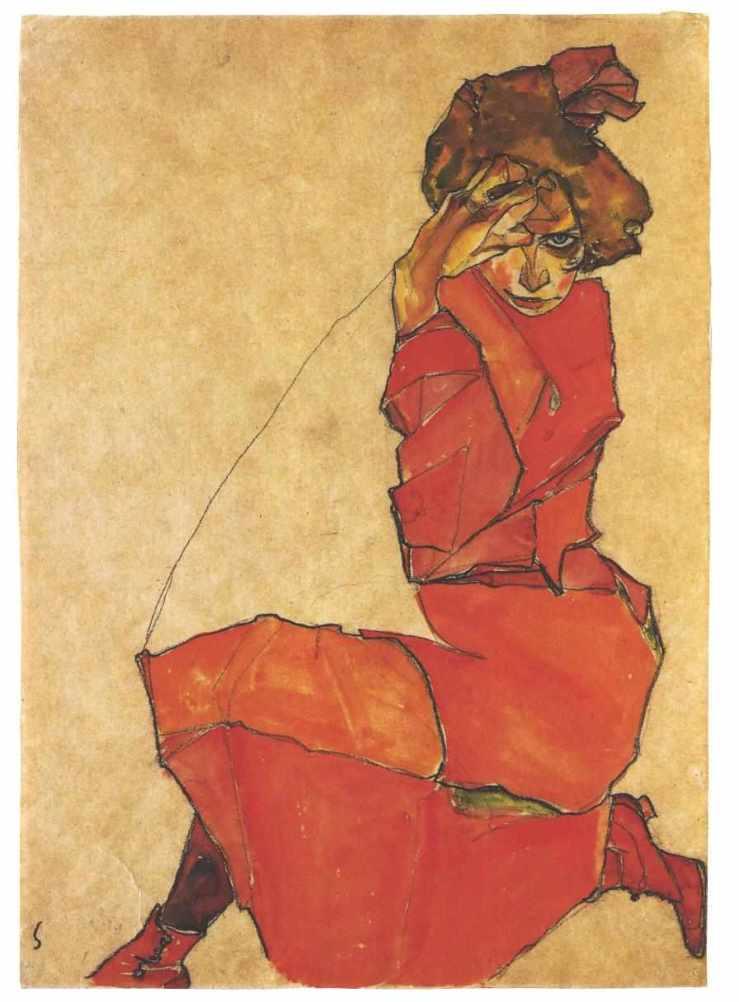 Schiele_-_Kniendes_Mädchen_in_orangerotem_Kleid