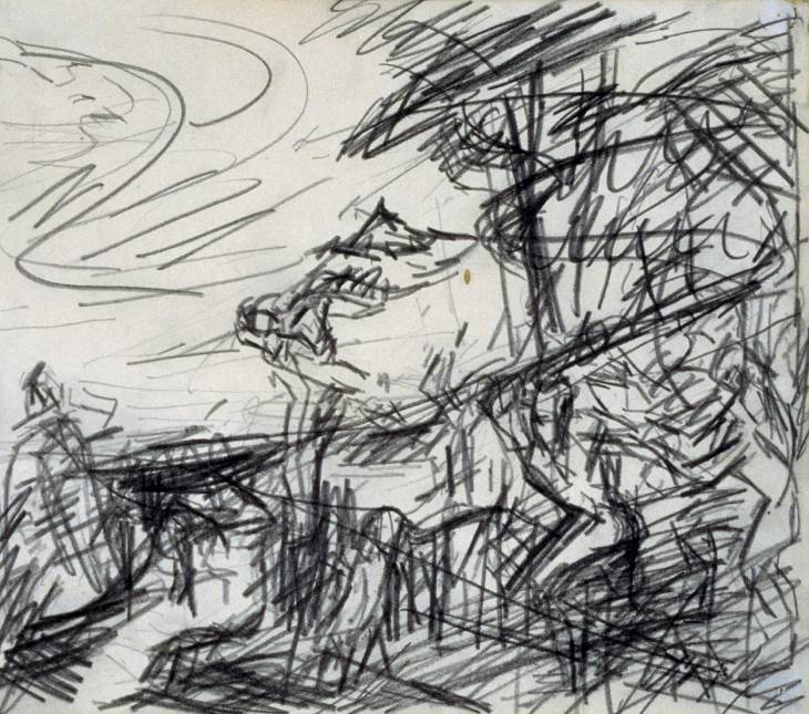 Sketch from Titian's 'Bacchus and Ariadne' 1970-71 by Frank Auerbach born 1931