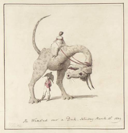1. Caricature. A Woman Seated on a Two-Legged Ass-Headed Monster Straddling a Man in Military Uniform 1809 by George Dance 1741-1825