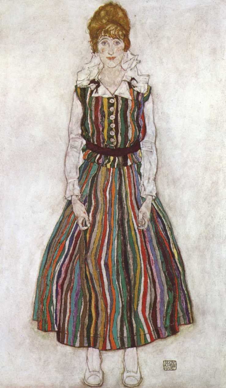 Portrait-of-Edith-Schiele-in-a-Striped-Dress