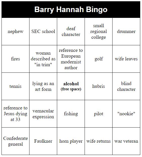barry hannah bingo
