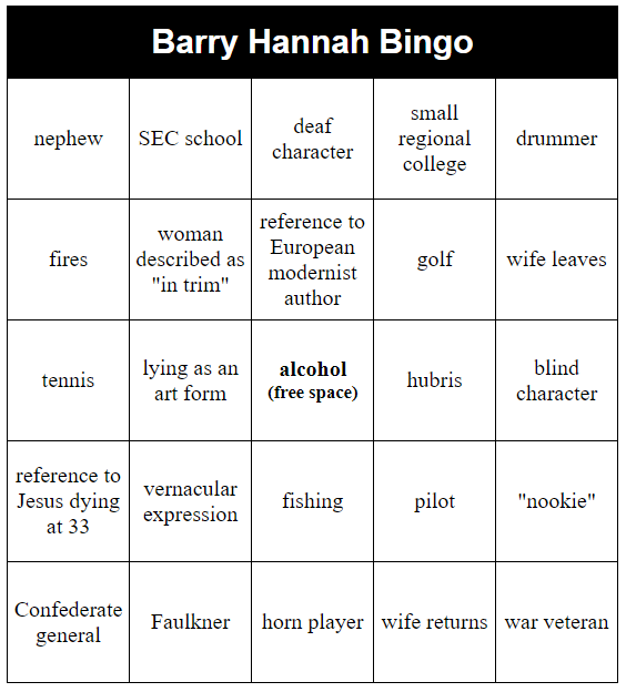 barry hannah bingo