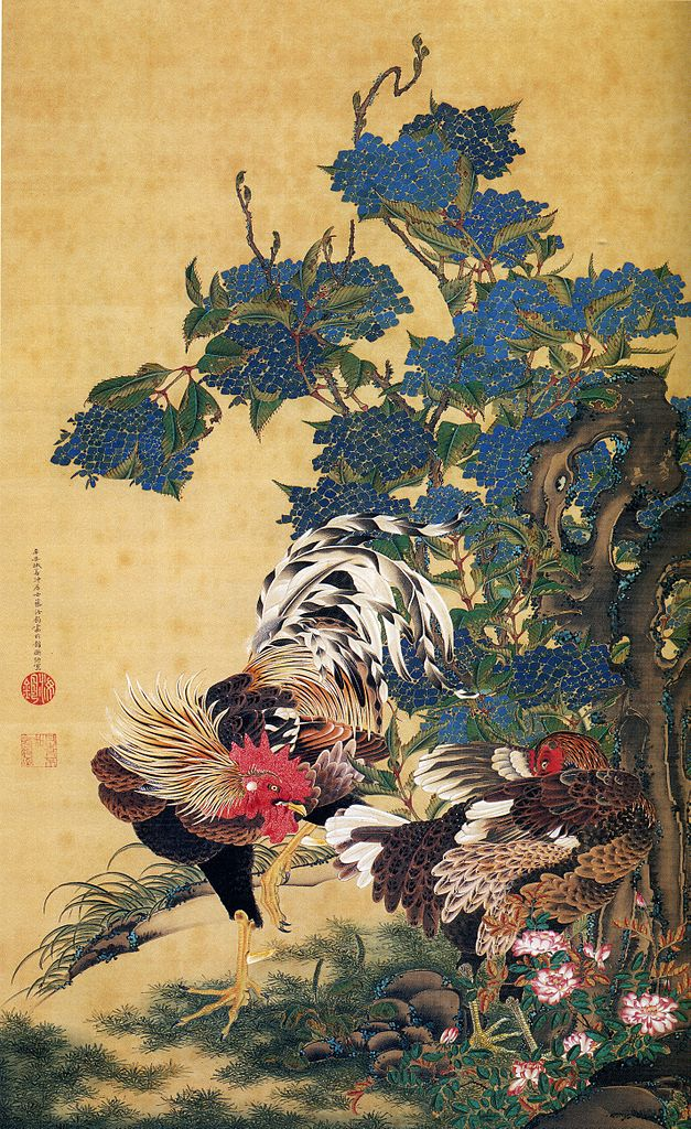 rooster-and-hen-with-hydrangeas