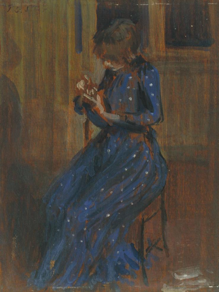 Girl in a Blue Dress c.1891 by Philip Wilson Steer 1860-1942