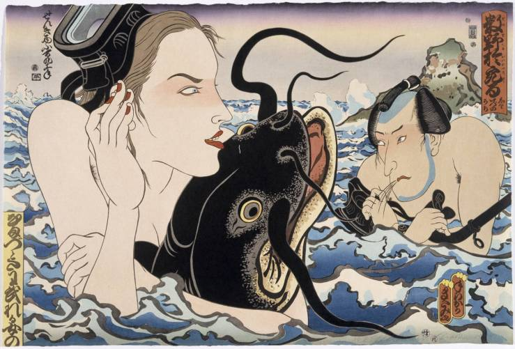 Catfish Envy 1993 by Masami Teraoka born 1936