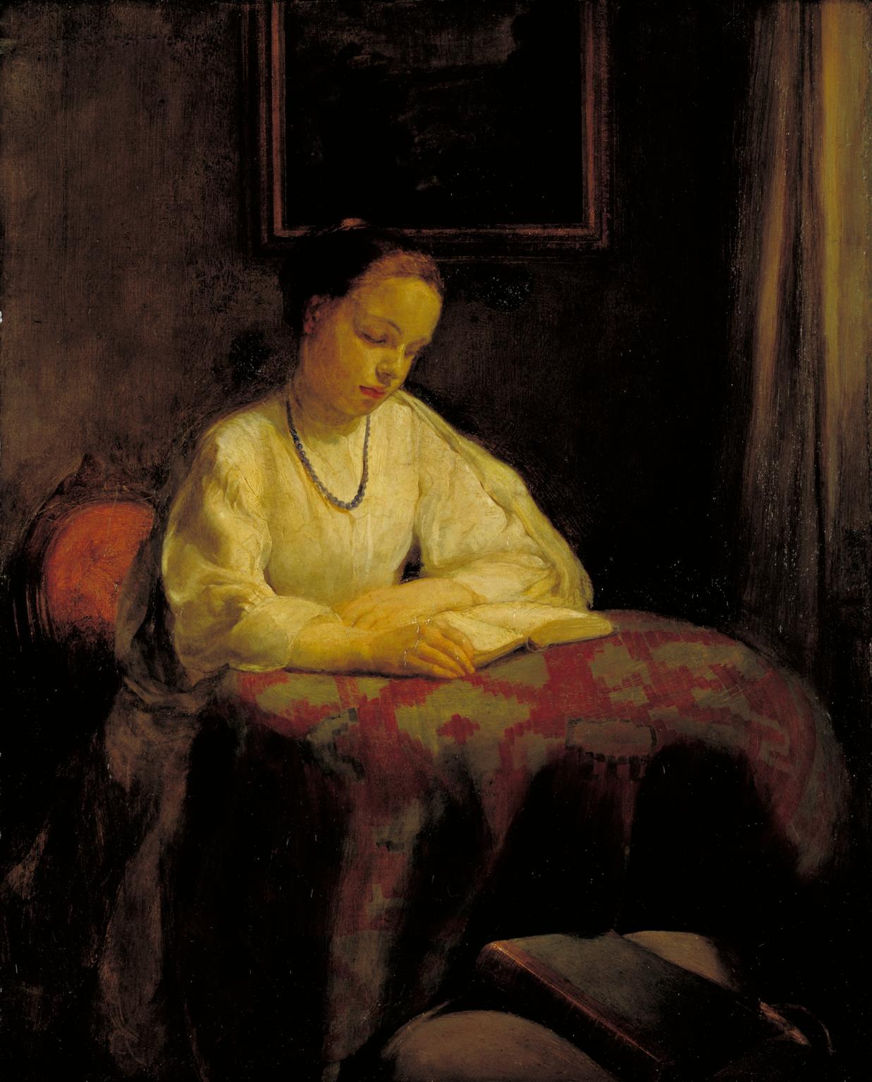 Interior: Girl Reading 1901 by Mary McEvoy 1870-1941
