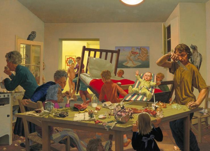 A Jan Steen Kitchen 1995-6 by Jonathan Leaman born 1954