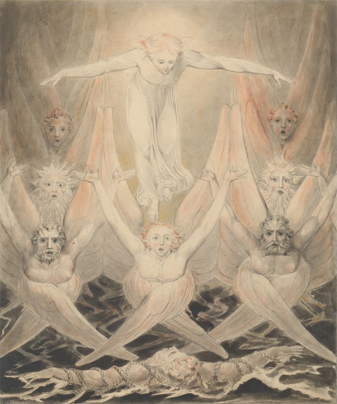 David Delivered out of Many Waters c.1805 by William Blake 1757-1827