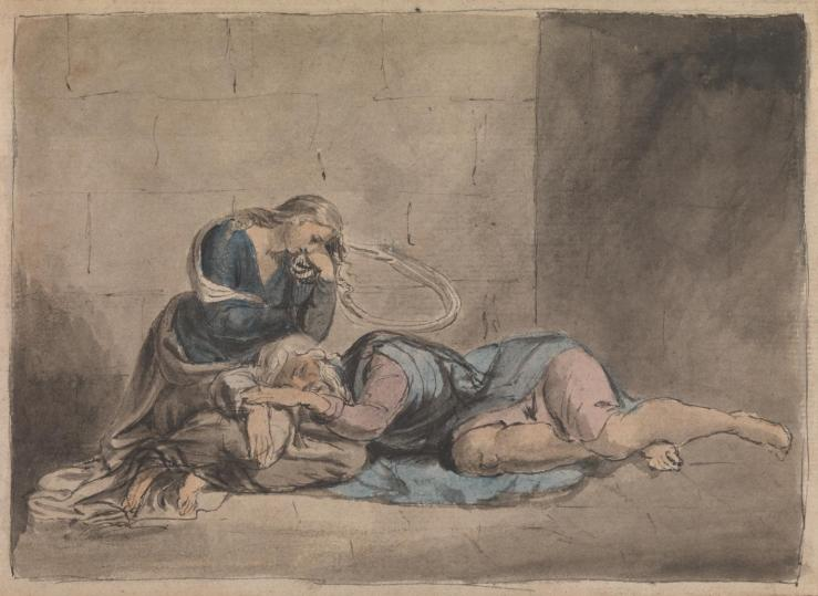 Lear and Cordelia in Prison c.1779 by William Blake 1757-1827