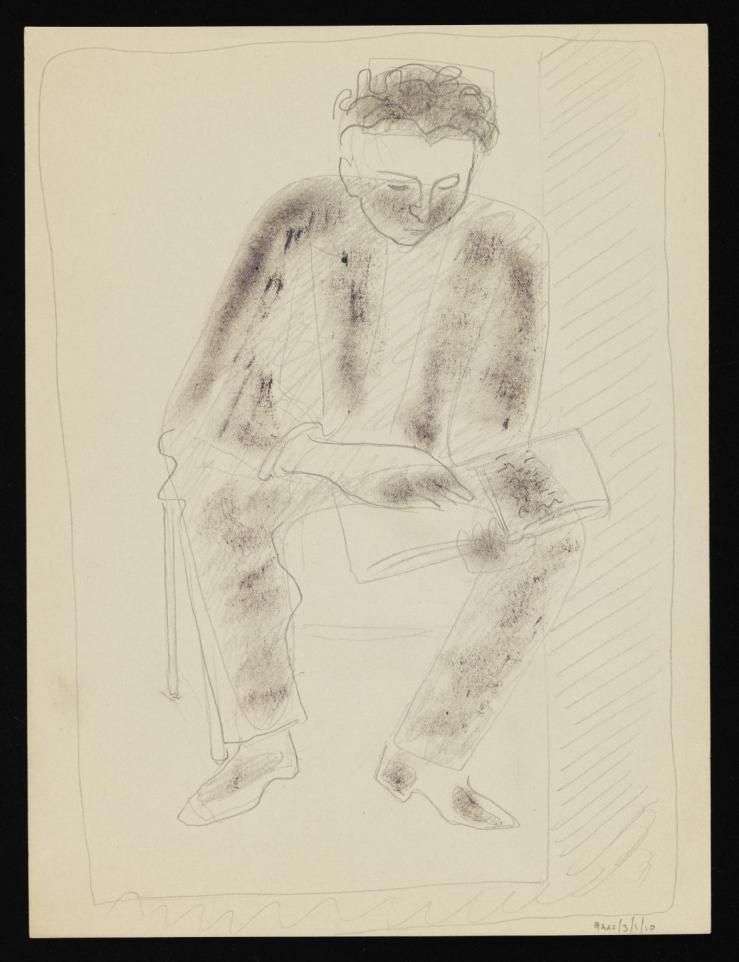 Sketch of a seated man reading by Eileen Agar 1899-1991